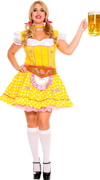 Plus Size Bright Dirndl Beer Girl Costume