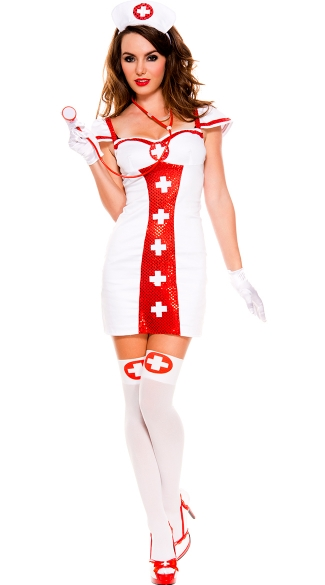 Bedside Beauty Sequin Nurse Costume, White and Red Sequin Nurse Costume, Sexy Sequin Nurse Costume
