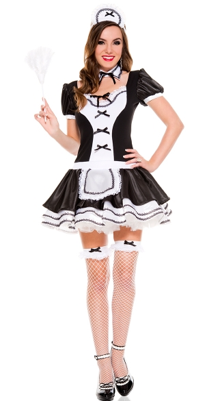 Sweet And Majestic French Maid Costume, Adult French Maid Halloween Costume, Sexy Frenchie Costume