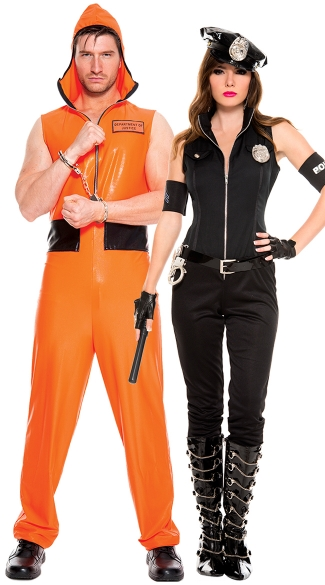 Cops and Convicts Couples Costume, Cops Bombshell Costume, Sexy Cop Costume, Sexy Police Costume, Men\'s Escaped Convict Costume, Men\'s Prisoner Costume