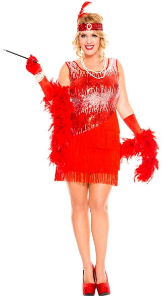 Plus Size Sequin Sparkly Fearless Flapper Costume