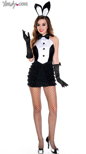 Mrs.Tux Bunny costume, tux Bunny costume, Black and White Bunny costume