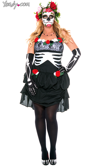 Plus Size Ms. Muerte costume, Plus Size Sugarskull costume, Plus Size Dia De Los Muertos Darling costume
