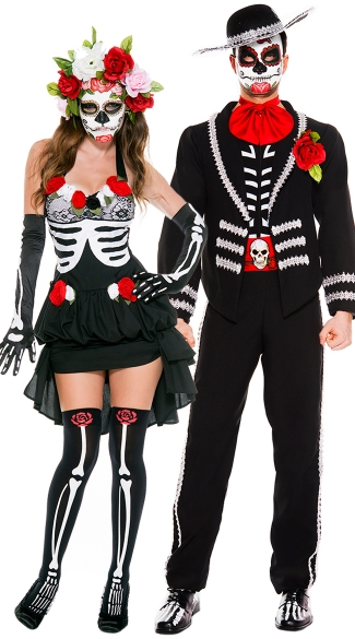 Mr. and Mrs. Muerte Couples Costume, Mrs. Muerte costume, Sugarskull costume, Dia De Los Muertos Darling costume, Men\'s Day Of The Dead Mariachi Costume, Mexican Day Of The Dead Costume, Men\'s Mariachi Halloween Costume