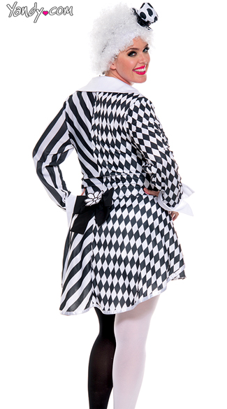 Plus Size Black and White Clown Costume