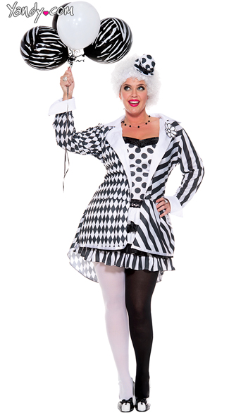Circus Damned Plus Size Costume, Women Ring Leader Plus Size Costume, Black and White Circus Plus Size Costume, Black and White Ring Leader Plus Size Costume