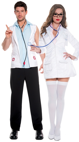 Sexy Surgeons Couples Costume, Sexy Surgeon Costume, Sexy White Lab Coat Costume, Hot Doctor Costume, Men\'s E.R. Doctor Costume, Medical Costumes, Men\'s Doctor Costume