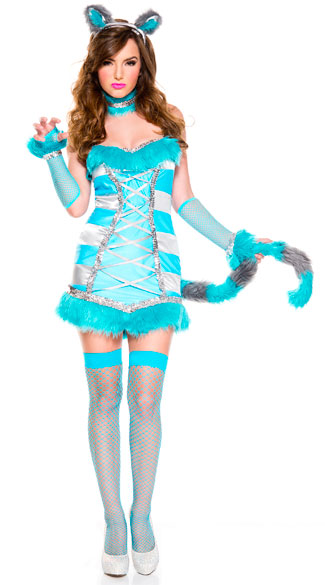 Cheery Cheshire Cat Costume, sexy cheery cheshire cat costume, cheshire cat costume, sexy cheshire cat costume, wonderland cat costume, sexy wonderland cat costume, blue cheshire cat costume, sexy blue cheshire cat costume, cat costume, sexy cat costume