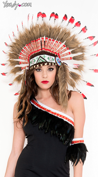 American Indian Headdress, Native Indian Headdress, Red Indian Headdress