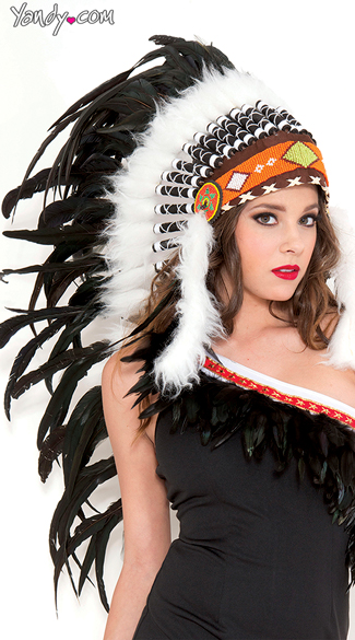 Pure White Indian Headdress, Native Indian Headdress, Indian Feather Headdress