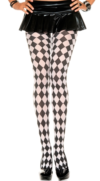 Harlequin Design Tights, Tights With Harlequin Pattern, Checkered Patterned Tights, Tights With Checkered pattern