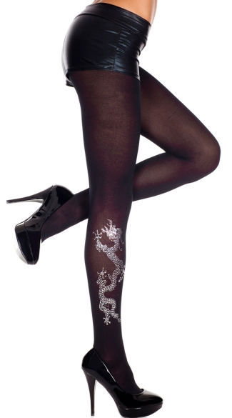Opaque Tights With Dragon