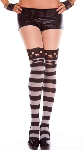Peekaboo Stripped Cat Print Pantyhose, Illusion Thigh High Pantyhose, Patterned Pantyhose, Sexy Pantyhose