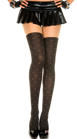 Opaque Dotted Thigh High Stockings, Thigh High Hosiery, Patterned Tights