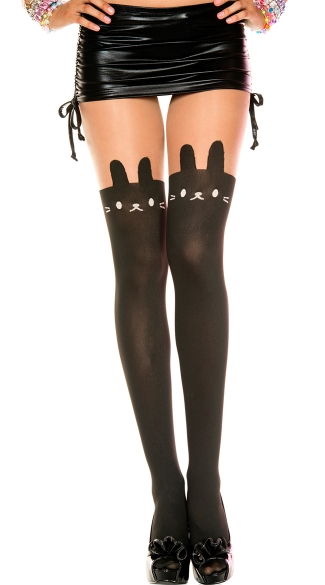 Cat Print Pantyhose, Black Cat Pantyhose