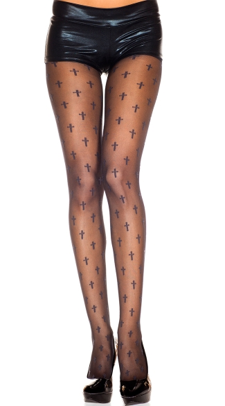 Cross Print Pantyhose
