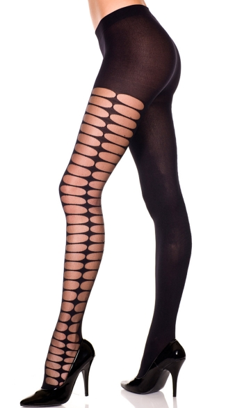 Opaque Pantyhose With Oval Print