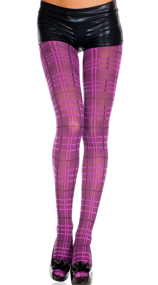 Purple Plaid Pantyhose