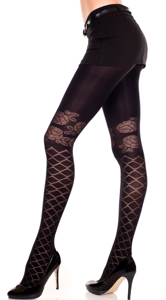Sheer Pantyhose with Diamond And Floral Print, Sheer Pantyhose With Floral Print, Sheer Diamond Net Pantyhose