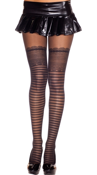 Sheer Pantyhose with Stripe and Lace Print