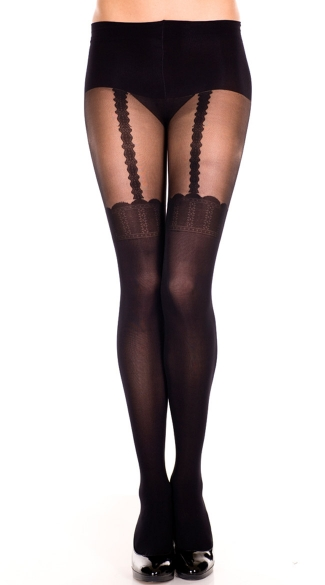 Sheer Pantyhose With Suspender Thigh High Design