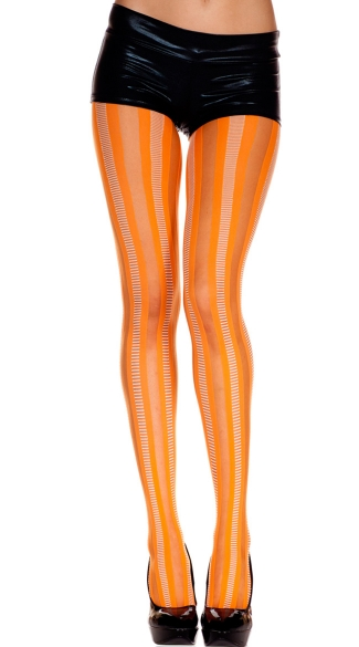 Textured Vertically Striped Pantyhose