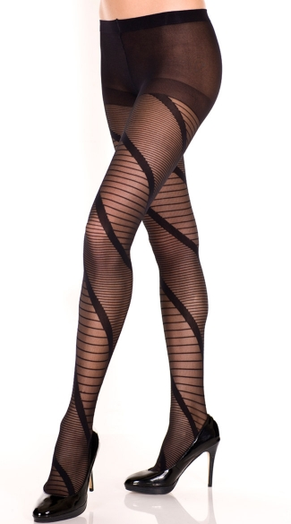 Swirled And Striped Sheer Pantyhose, Swirled Sheer Pantyhose, Deluxe Pantyhose
