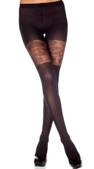 Opaque Pantyhose with Floral Mesh Topper