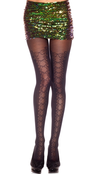 Faux Lace Up Sheer and Opaque Pantyhose, Spandex Opaque Pantyhose With Sheer Faux Lace Up Panel