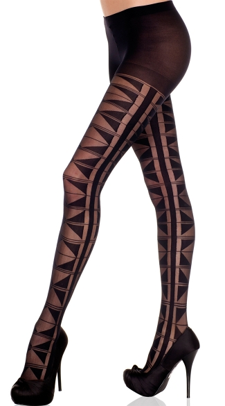 Sheer and Opaque Geometric Pantyhose, Multi Triangle Design Pantyhose