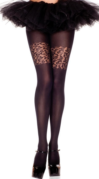 Opaque Pantyhose with Leopard Thigh