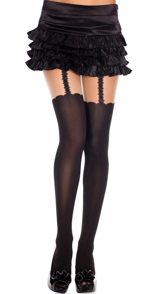Black and Nude Faux Suspender Pantyhose