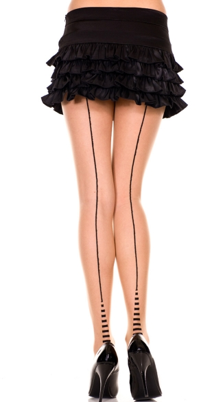 Sheer Pantyhose With Striped Cuban Heel, Pantyhose With Striped Heel, Sheer Pantyhose With Backseam