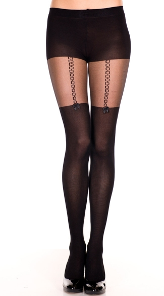 Sheer Pantyhose With Faux Suspender Design