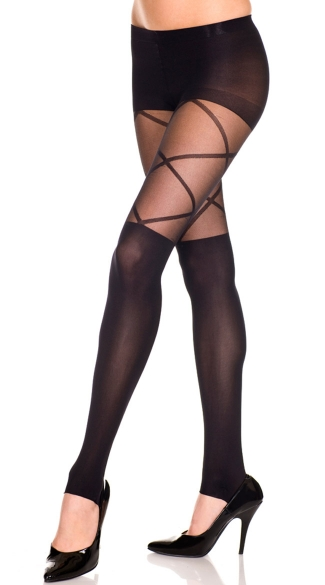 Sheer Leggings With Faux Cross Lace
