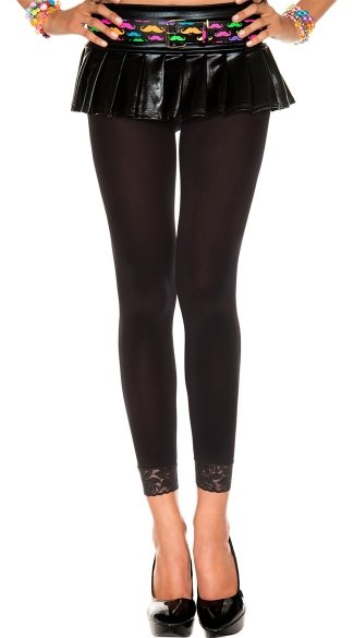 Opaque Leggings With Lace Trim