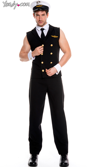 Men\'s Sexy Sleeveless Pilot Costume, Airplane Pilot Costume, Airline Pilot Uniform
