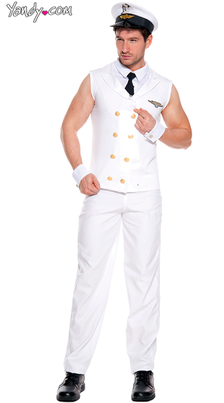 Men\'s Sexy Sleeveless Pilot Costume