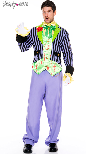 Men\'s Bloody Joker Costume, Supervillain Costumes, Men\'s Batman Costume