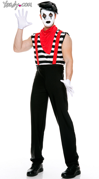 Men\'s Silent Mime Costume, Mime Artist Costume, French Mime Costume