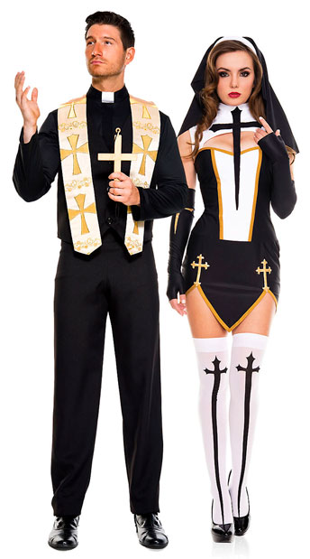 Bad Habit Nun Costume, sexy nun costume - Yandy.com, Men\'s Priest Costume, black and gold priest costume - Yandy.com