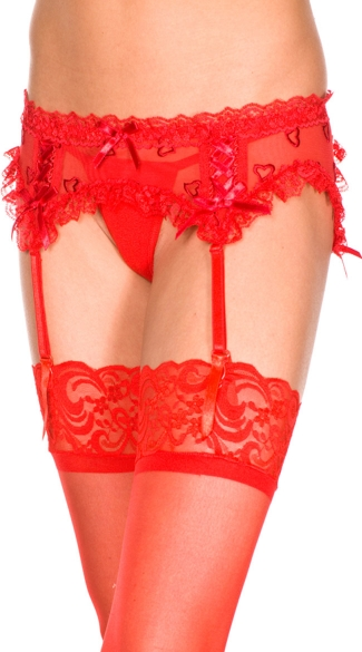 Plus Size Heart Mesh Garter Belt, Plus Size Garter Belt Set, Garter Belt Plus Size