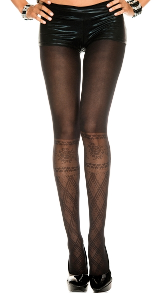 Opaque Pantyhose with Argyle Knee High Print