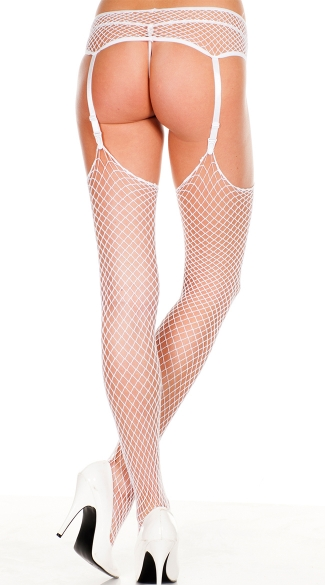 Diamond Net Thigh High Stockings With Garter Belt