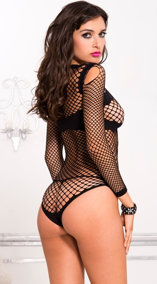 Long Sleeve Fishnet Teddy