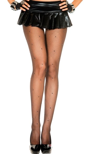Rhinestone Studded Sheer Pantyhose, Tights For Women, Patterned Tights