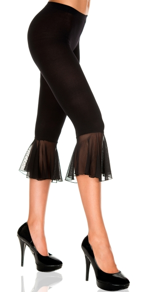 Mesh Capri Pants, Capri With Ruffle Trim, Mesh Capri Pants With Ruffle Trim