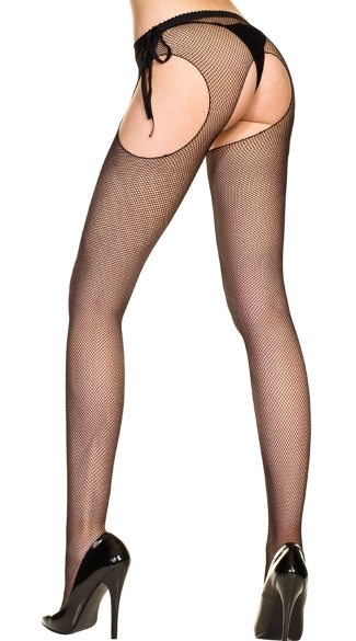 Bow Tie Suspender Fishnet Pantyhose