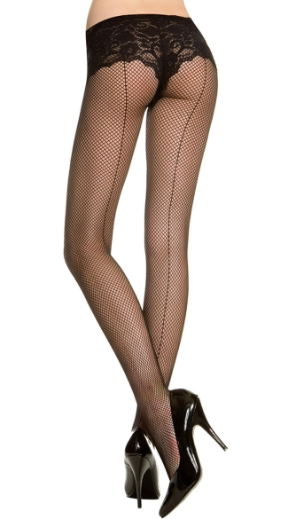 Fishnet Pantyhose With Backseam