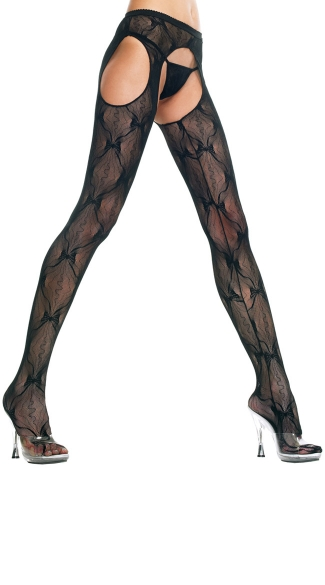 Back Bow Lace Suspender Pantyhose